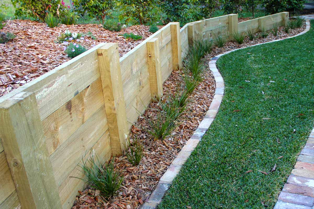 Landscaping Retaining Walls Sandstone Timber Wall