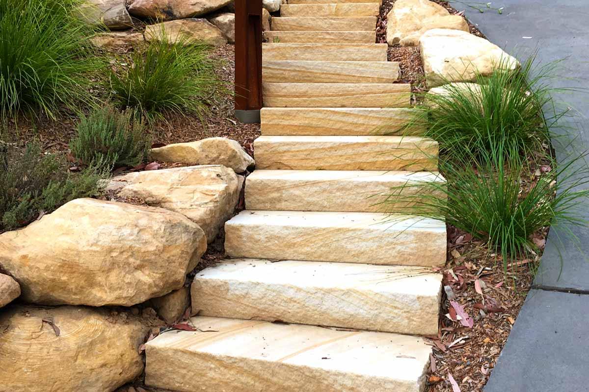 Landscaping Stairs Sandstone Flagging
