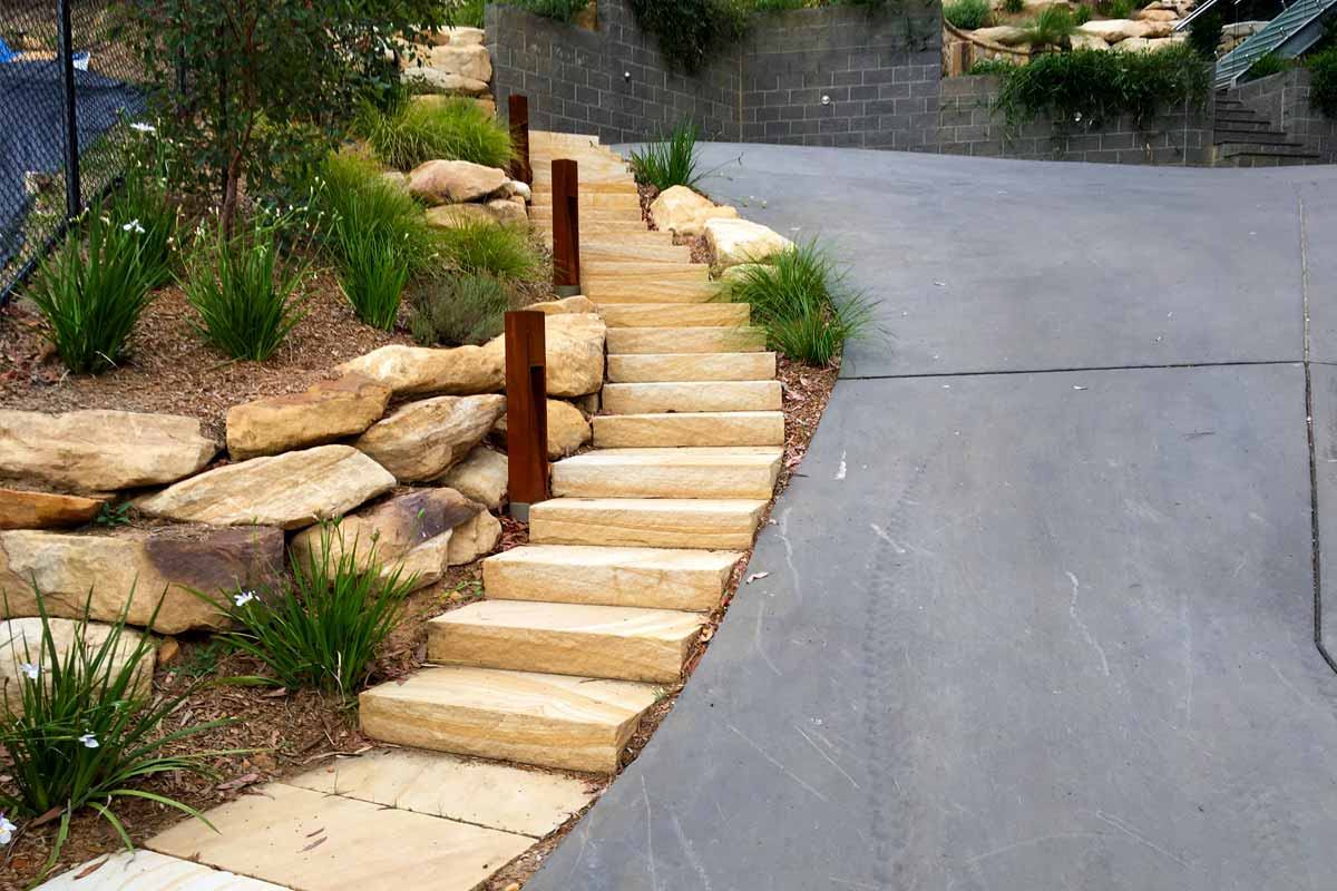 Landscaping Stairs Sandstone Driveway