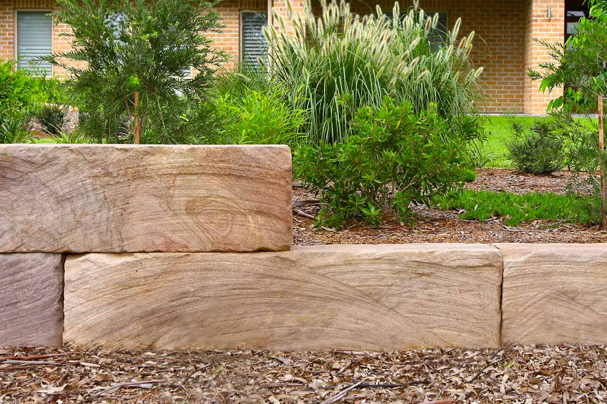 Sandstone Log Retaining Wall Garden