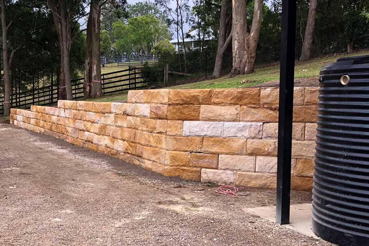 Sandstone Log Retaining Walls High Wall