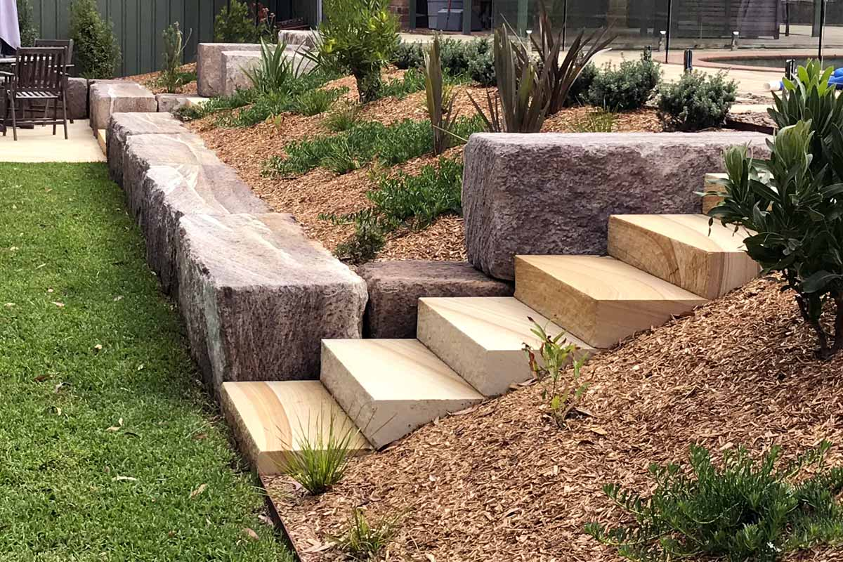 Sandstone Log Retaining Walls Gardens