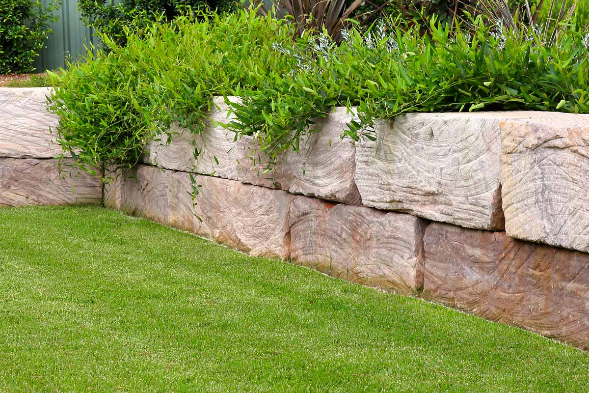 Sandstone Log Retaining Walls Garden