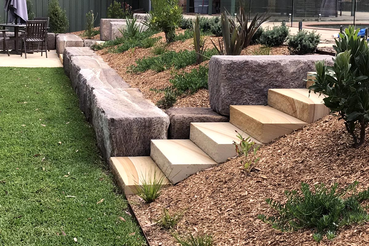 Valley Heights Landscaping Garden Area Sandstone Stairs