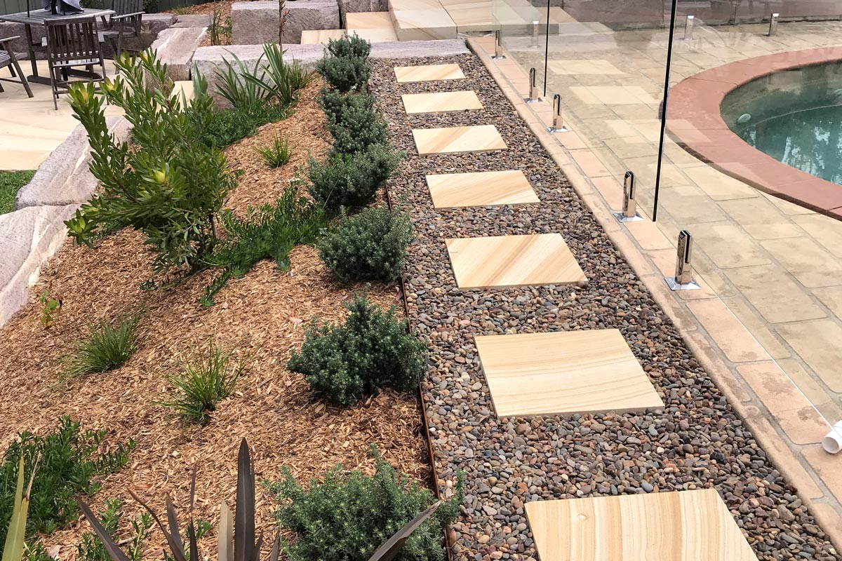 Valley Heights Landscaping Pebbles Sandstone Flagging Pathway