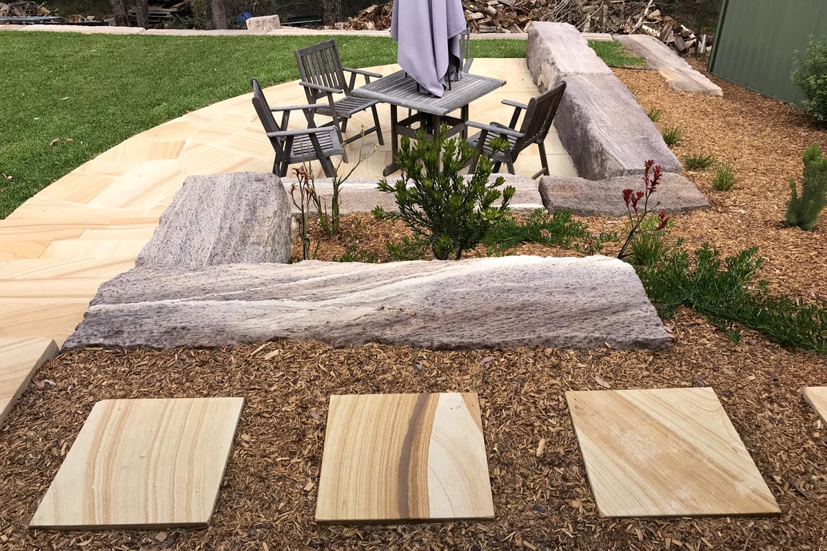 Valley Heights Landscaping Entertainment Area with Sandstone Flagging Pathway