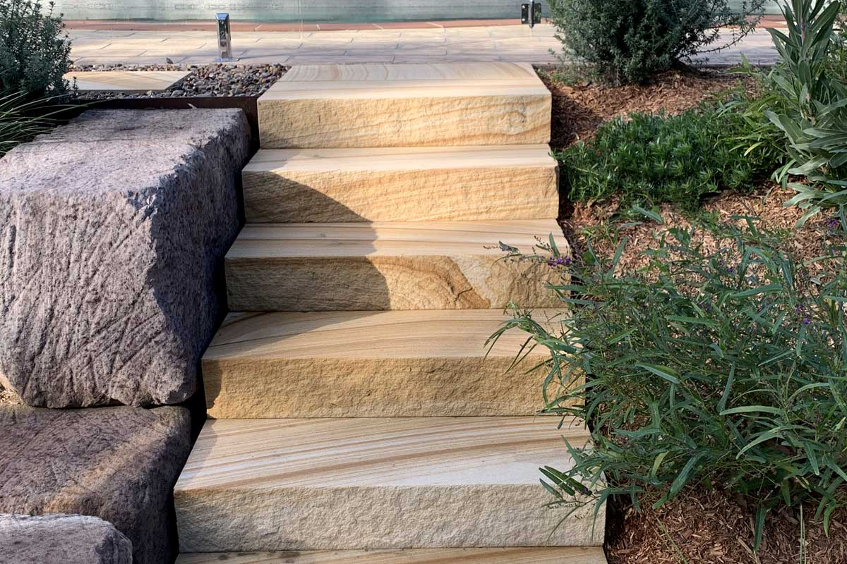 Landscaping Renovation Valley Heights Sawn Sandstone Stairs